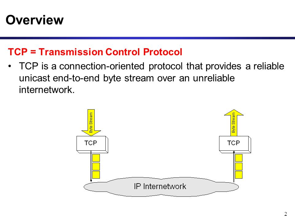 2 Overview TCP = Transmission Control Protocol TCP is a connection-oriented protocol that provides a reliable unicast end-to-end byte stream over an unreliable internetwork.