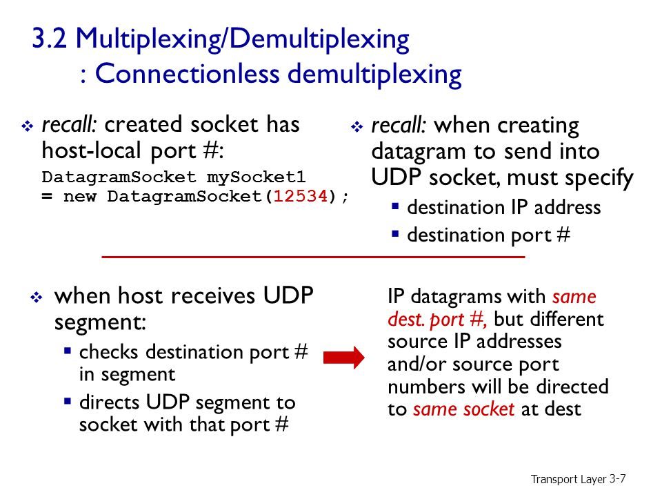 Transport Layer Multiplexing/Demultiplexing : Connectionless demultiplexing  recall: created socket has host-local port #: DatagramSocket mySocket1 = new DatagramSocket(12534);  when host receives UDP segment:  checks destination port # in segment  directs UDP segment to socket with that port #  recall: when creating datagram to send into UDP socket, must specify  destination IP address  destination port # IP datagrams with same dest.