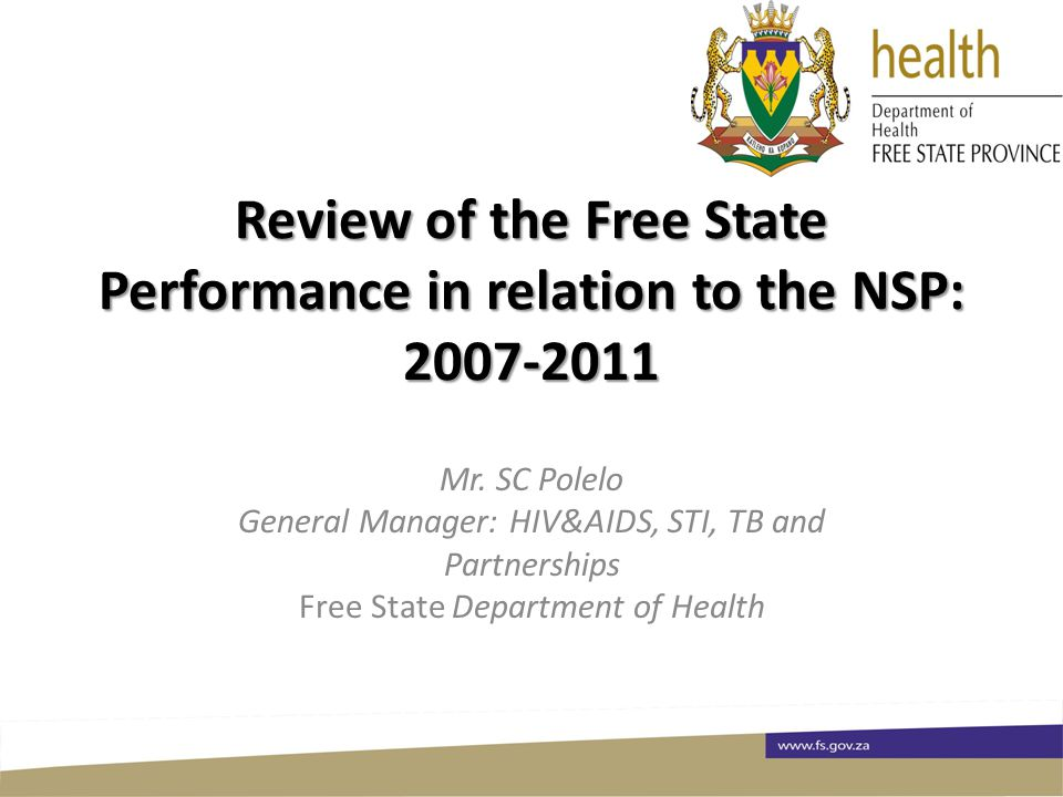 Review of the Free State Performance in relation to the NSP: Mr  SC