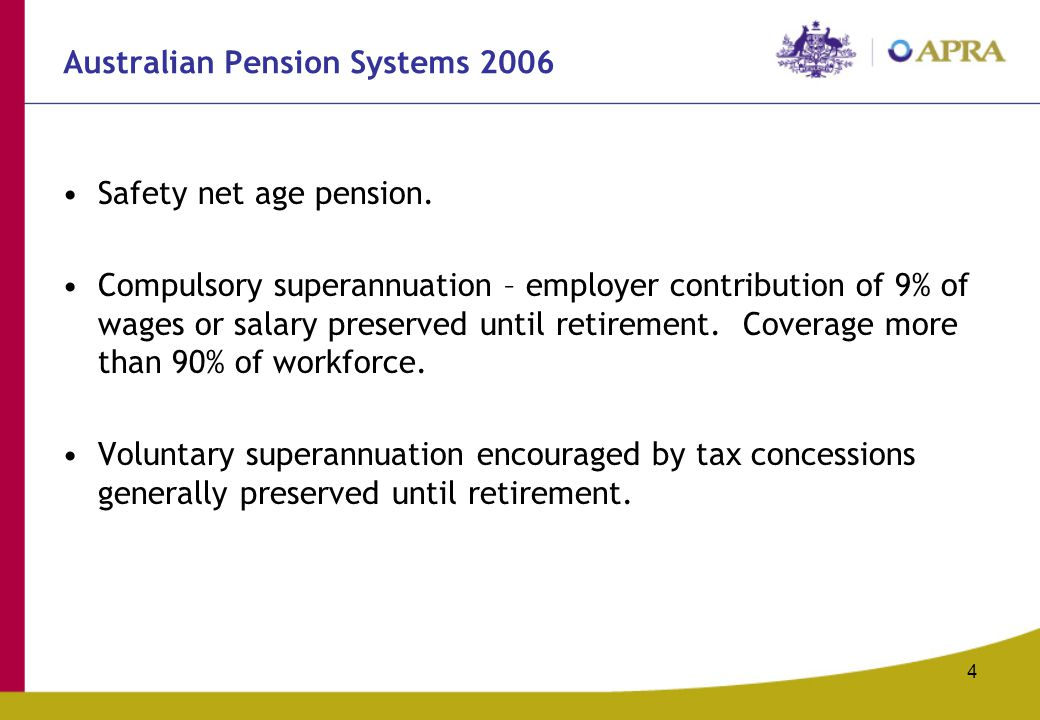 4 Australian Pension Systems 2006 Safety net age pension.