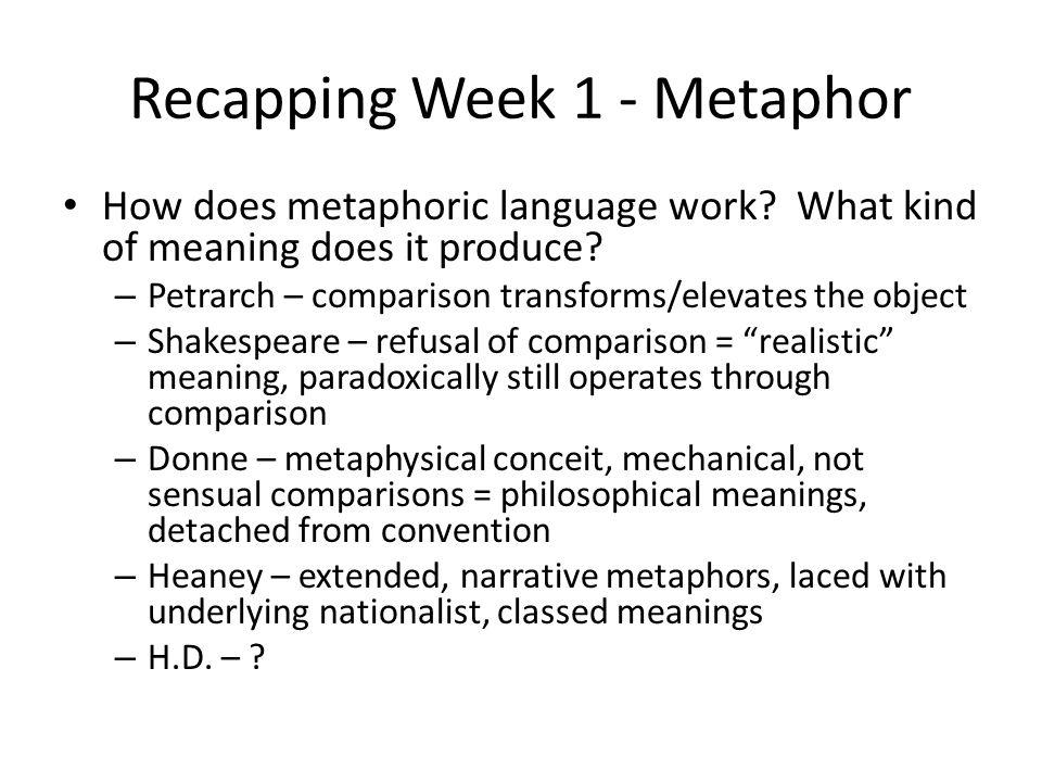 Recapping Week 1 Metaphor How Does Metaphoric Language Work What