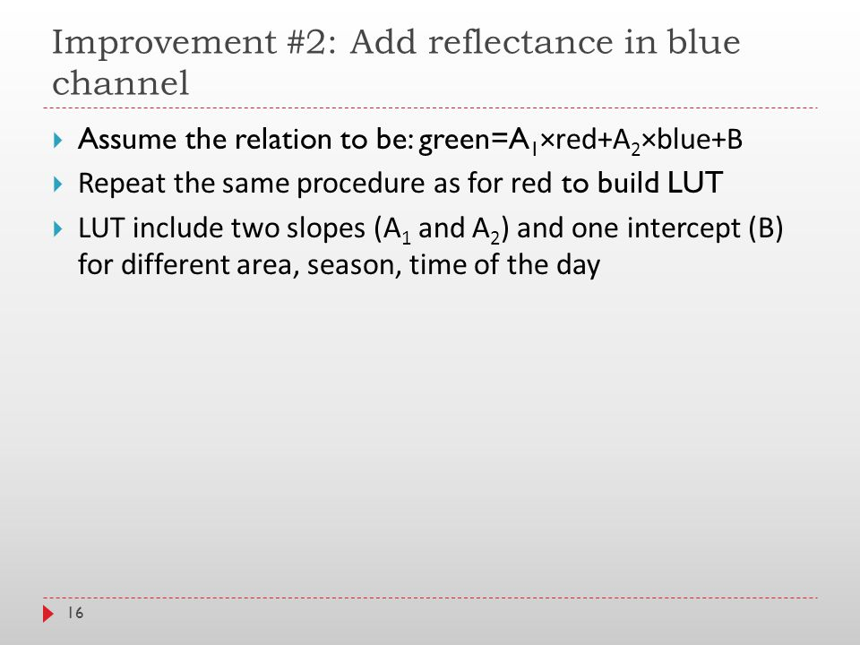 Improvement #2: Add reflectance in blue channel 16  Assume the relation to be: green=A 1 ×red+A 2 ×blue+B  Repeat the same procedure as for red to build LUT  LUT include two slopes (A 1 and A 2 ) and one intercept (B) for different area, season, time of the day