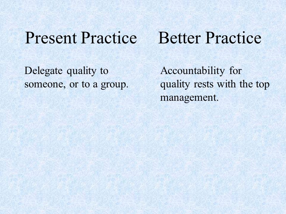 Present Practice Delegate quality to someone, or to a group.