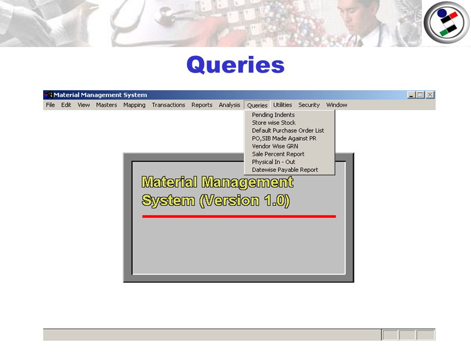 Material Management System (Main Screen)  Masters  - ppt download