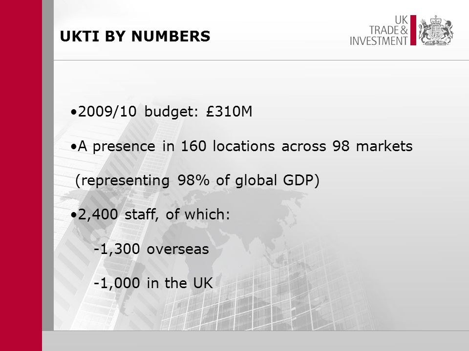 UKTI BY NUMBERS 2009/10 budget: £310M A presence in 160 locations across 98 markets (representing 98% of global GDP) 2,400 staff, of which: -1,300 overseas -1,000 in the UK