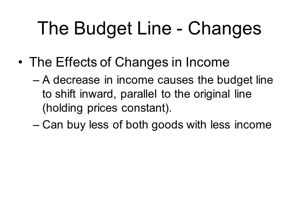 The Budget Line - Changes The Effects of Changes in Income –A decrease in income causes the budget line to shift inward, parallel to the original line (holding prices constant).