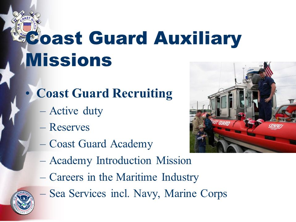 Coast Guard Auxiliary Missions Coast Guard Recruiting –Active duty –Reserves –Coast Guard Academy –Academy Introduction Mission –Careers in the Maritime Industry –Sea Services incl.