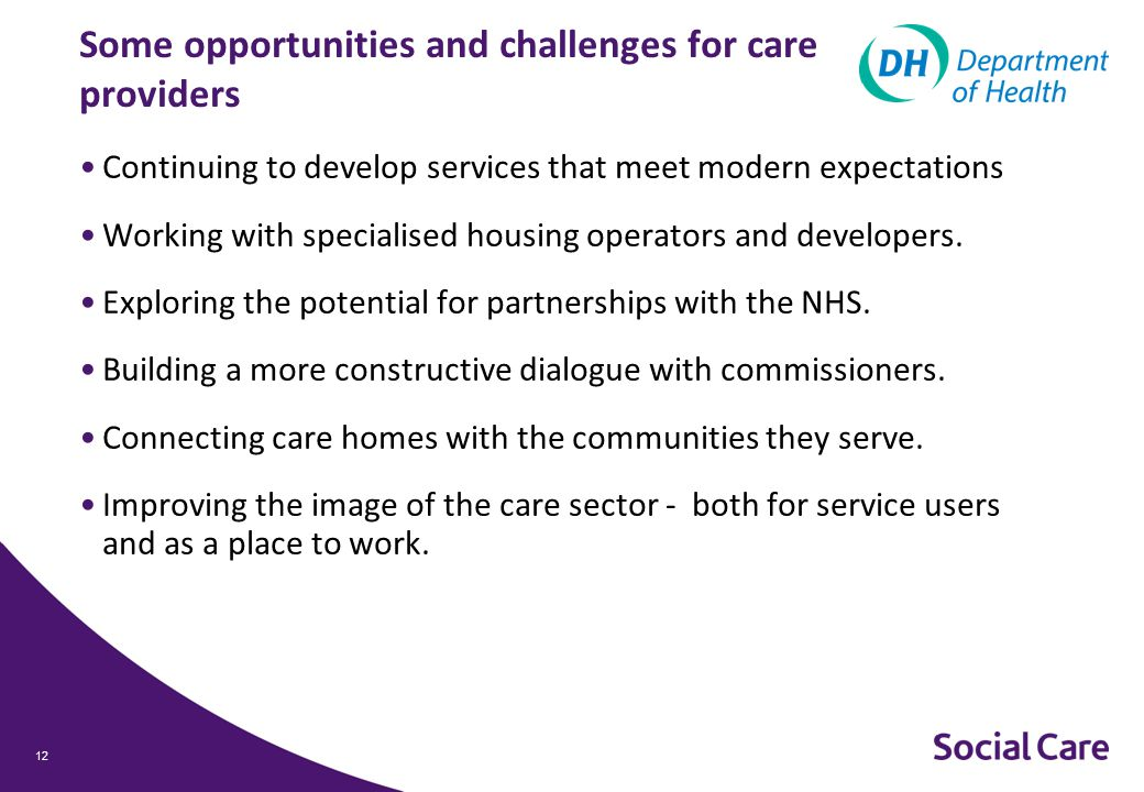 12 Some opportunities and challenges for care providers Continuing to develop services that meet modern expectations Working with specialised housing operators and developers.