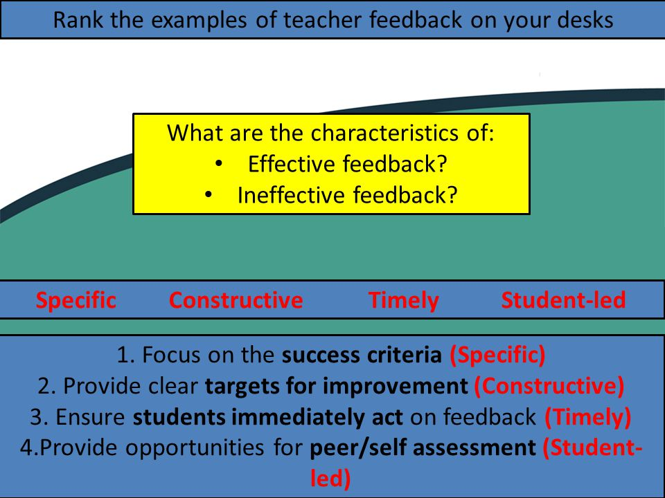 SpecificConstructiveTimelyStudent-led Rank the examples of teacher feedback on your desks 1.