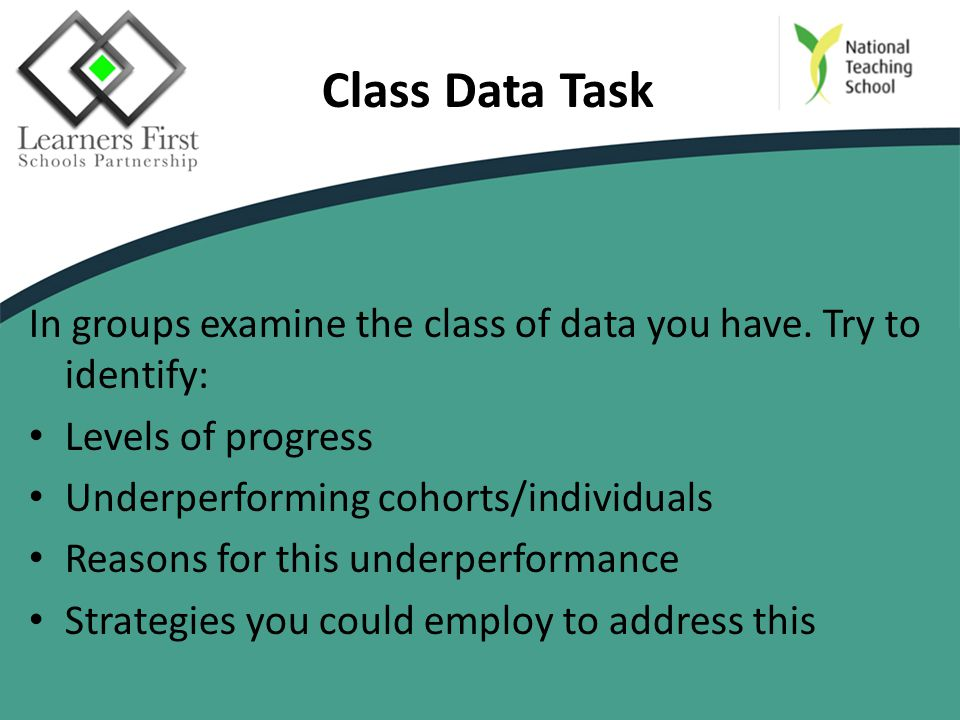 Class Data Task In groups examine the class of data you have.