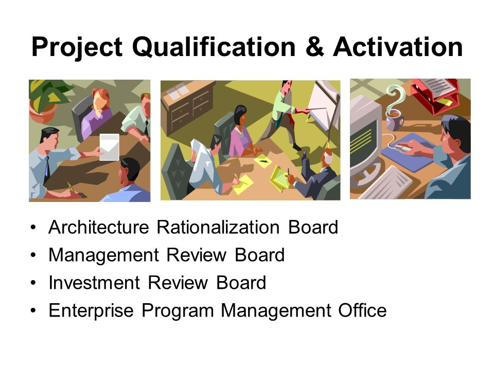 Project Qualification & Activation Architecture Rationalization Board Management Review Board Investment Review Board Enterprise Program Management Office