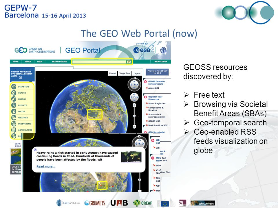GEOSS resources discovered by:  Free text  Browsing via Societal Benefit Areas (SBAs)  Geo-temporal search  Geo-enabled RSS feeds visualization on globe The GEO Web Portal (now)