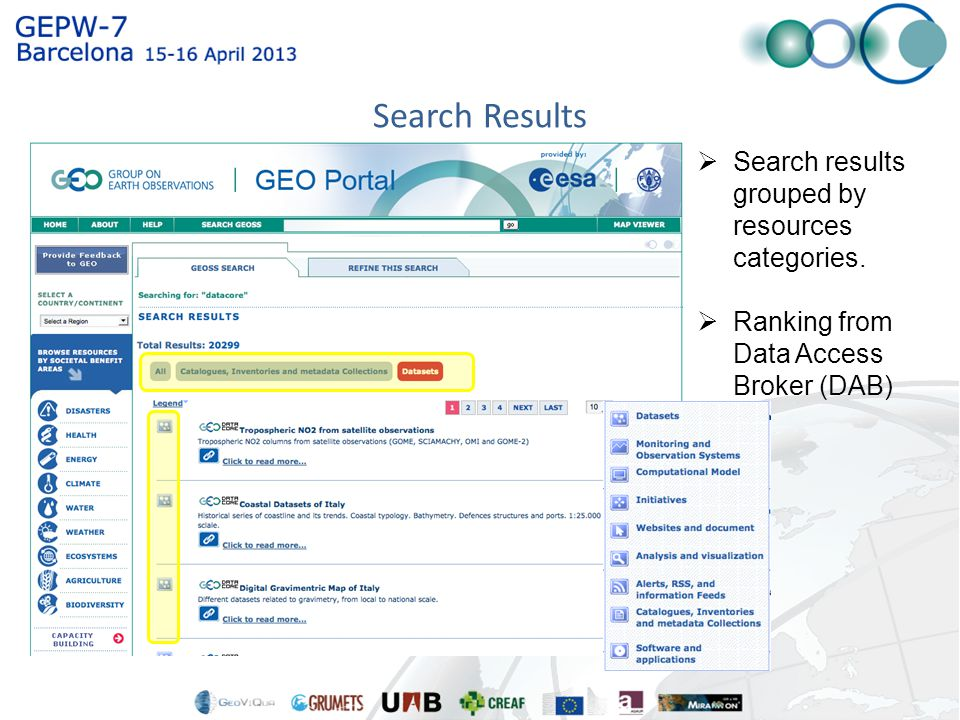  Search results grouped by resources categories.
