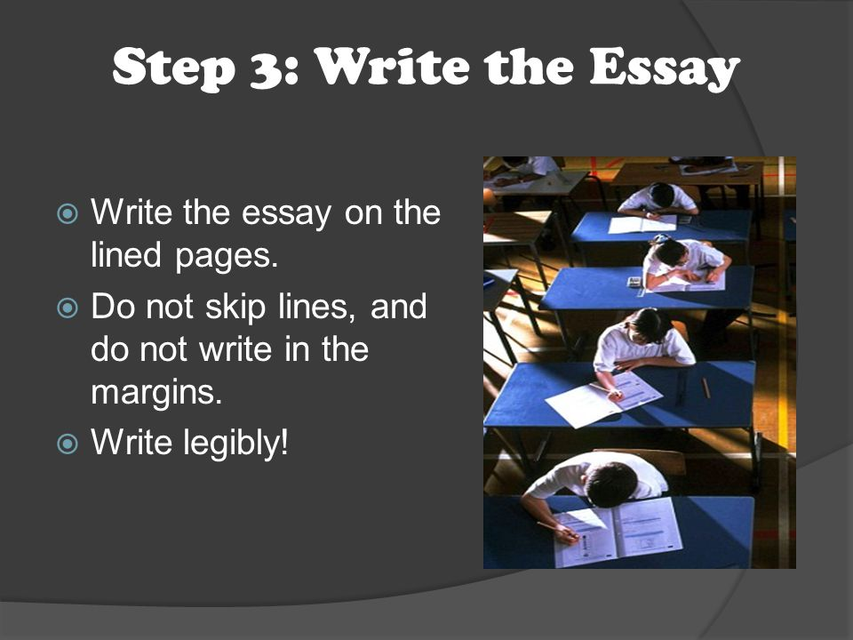Step 3: Write the Essay  Write the essay on the lined pages.