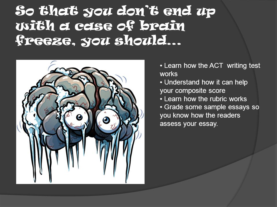 So that you don't end up with a case of brain freeze, you should… Learn how the ACT writing test works Understand how it can help your composite score Learn how the rubric works Grade some sample essays so you know how the readers assess your essay.