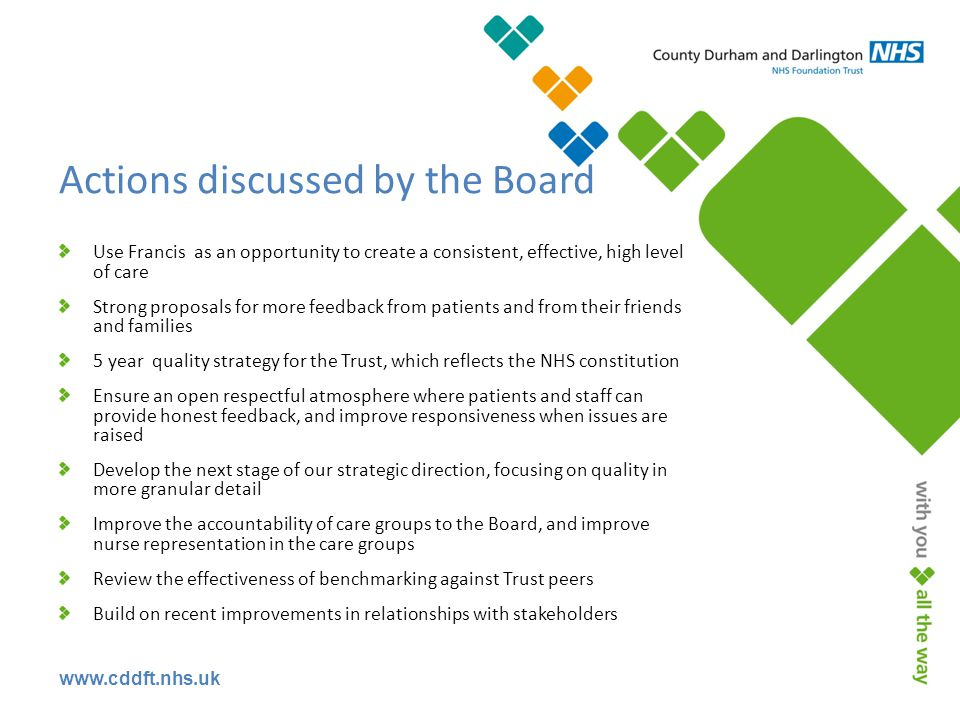Actions discussed by the Board Use Francis as an opportunity to create a consistent, effective, high level of care Strong proposals for more feedback from patients and from their friends and families 5 year quality strategy for the Trust, which reflects the NHS constitution Ensure an open respectful atmosphere where patients and staff can provide honest feedback, and improve responsiveness when issues are raised Develop the next stage of our strategic direction, focusing on quality in more granular detail Improve the accountability of care groups to the Board, and improve nurse representation in the care groups Review the effectiveness of benchmarking against Trust peers Build on recent improvements in relationships with stakeholders