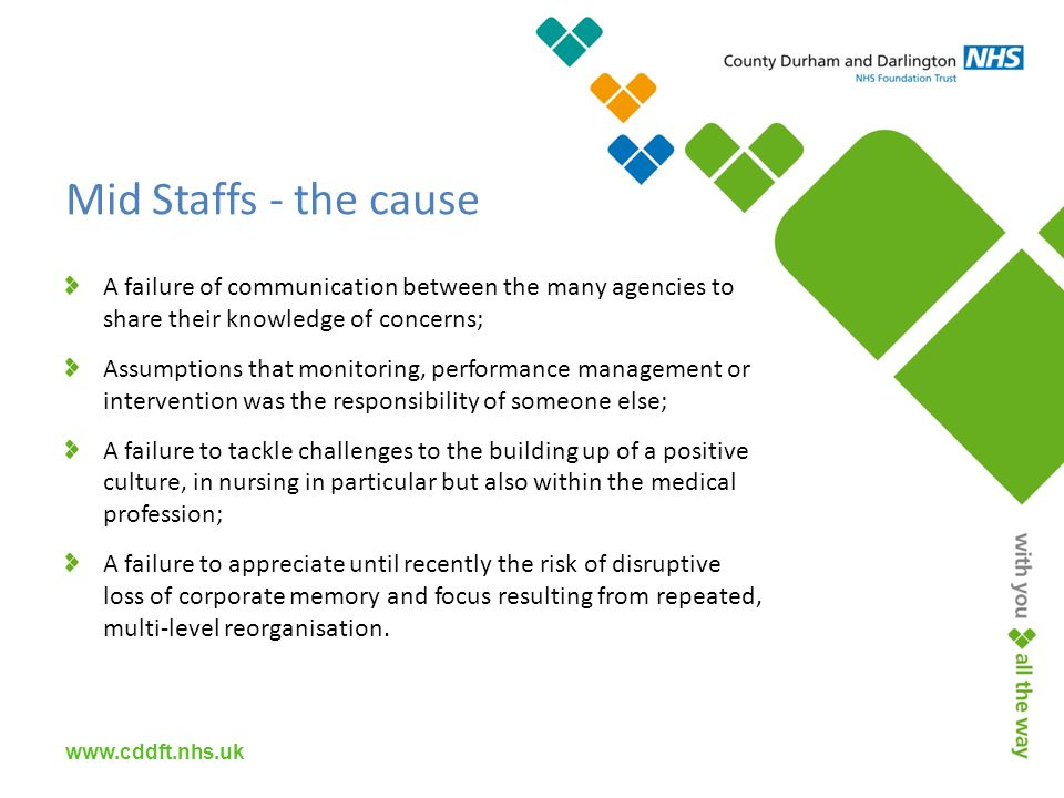 Mid Staffs - the cause A failure of communication between the many agencies to share their knowledge of concerns; Assumptions that monitoring, performance management or intervention was the responsibility of someone else; A failure to tackle challenges to the building up of a positive culture, in nursing in particular but also within the medical profession; A failure to appreciate until recently the risk of disruptive loss of corporate memory and focus resulting from repeated, multi-level reorganisation.