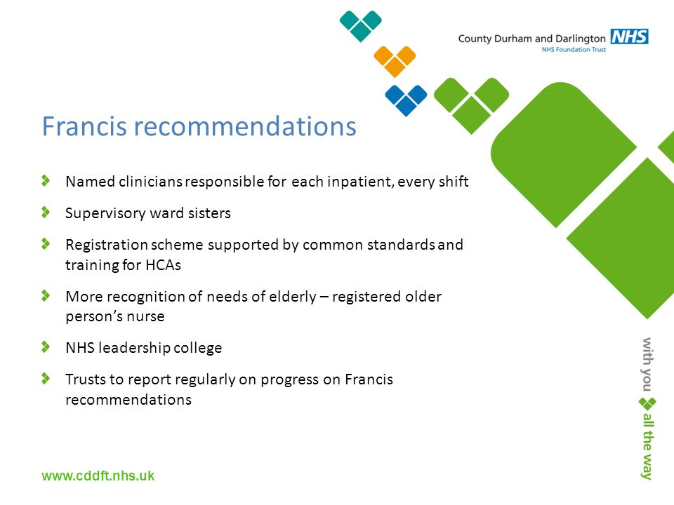 Named clinicians responsible for each inpatient, every shift Supervisory ward sisters Registration scheme supported by common standards and training for HCAs More recognition of needs of elderly – registered older person's nurse NHS leadership college Trusts to report regularly on progress on Francis recommendations Francis recommendations