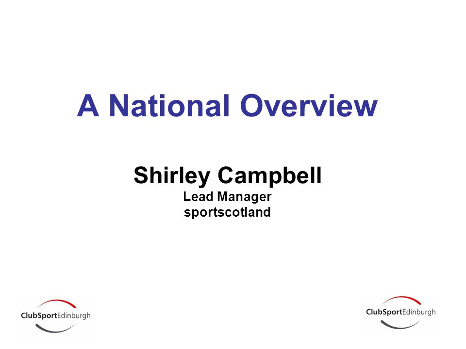 A National Overview Shirley Campbell Lead Manager sportscotland