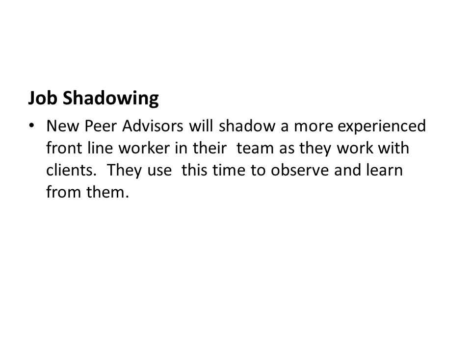 Job Shadowing New Peer Advisors will shadow a more experienced front line worker in their team as they work with clients.