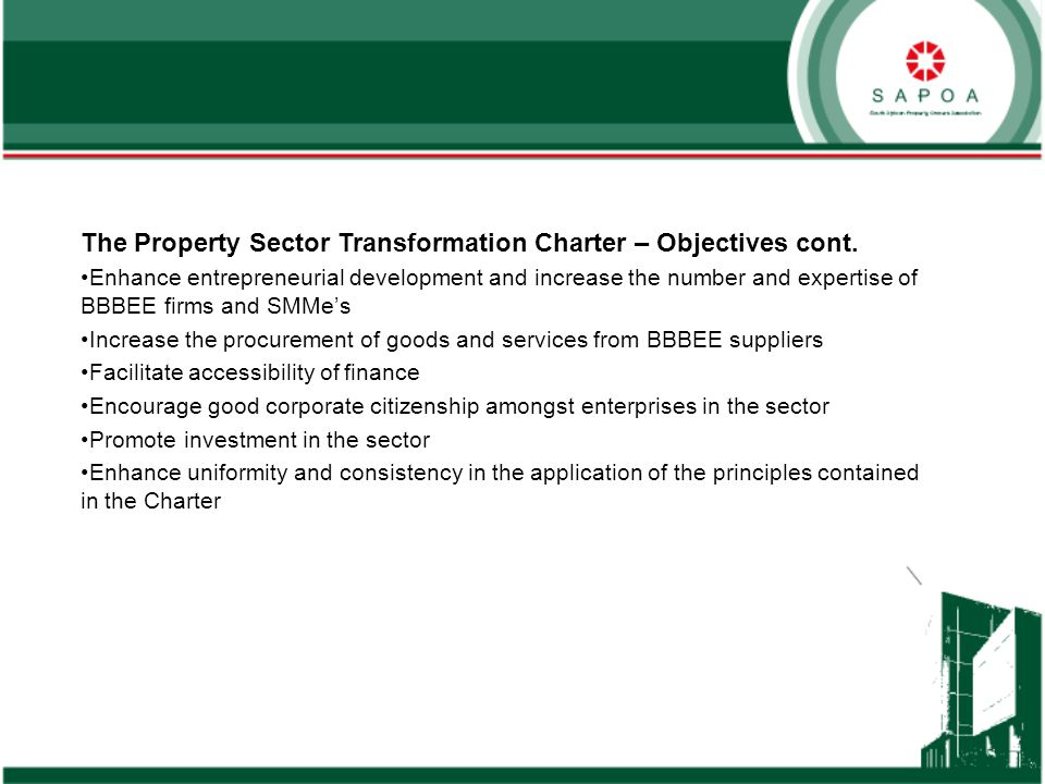 The Property Sector Transformation Charter – Objectives cont.