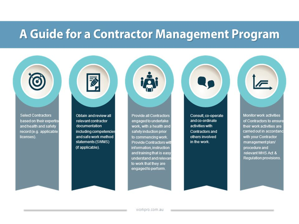 Select Contractors based on their expertise and health and safety record (e.g.