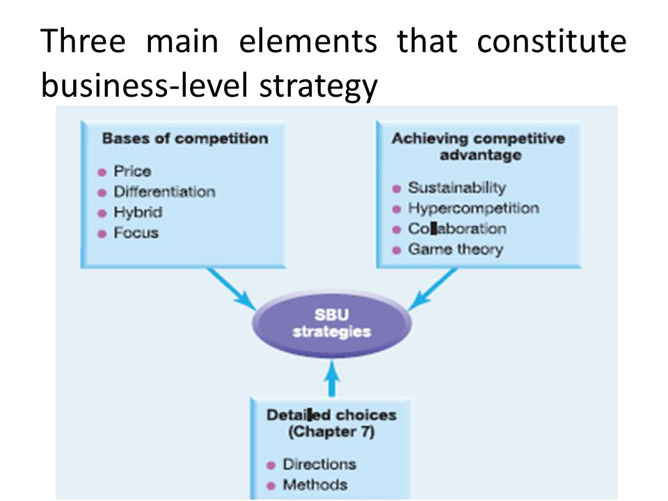Three main elements that constitute business-level strategy
