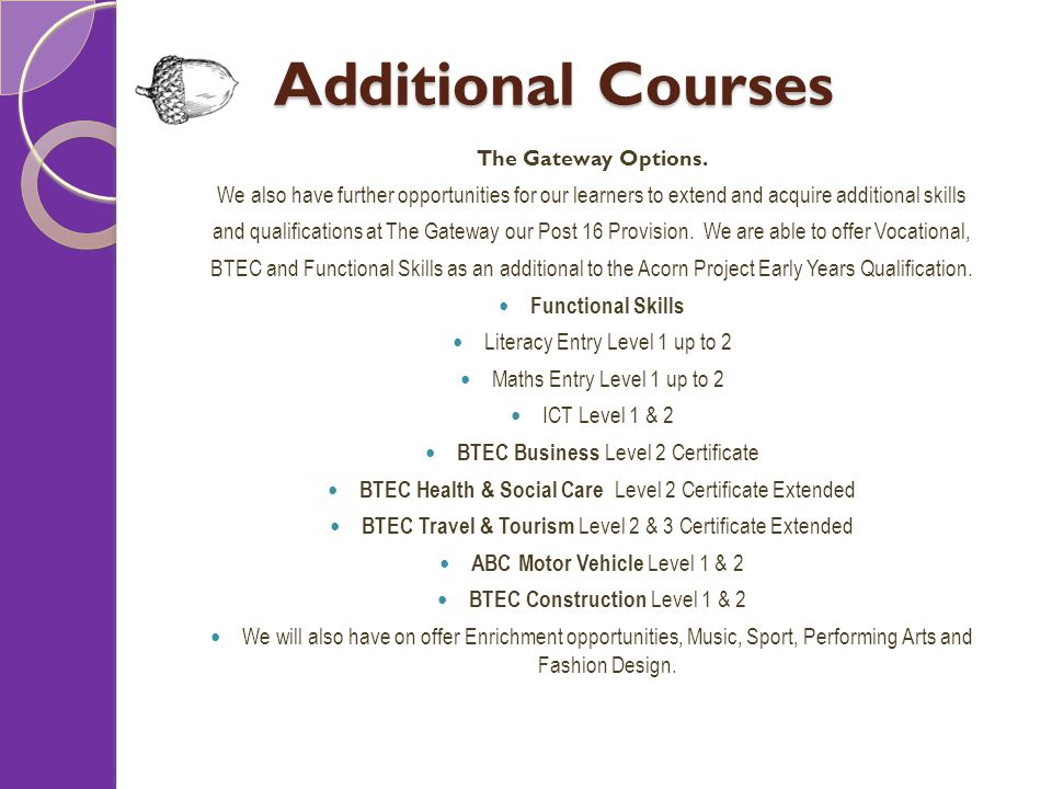 Additional Courses The Gateway Options.
