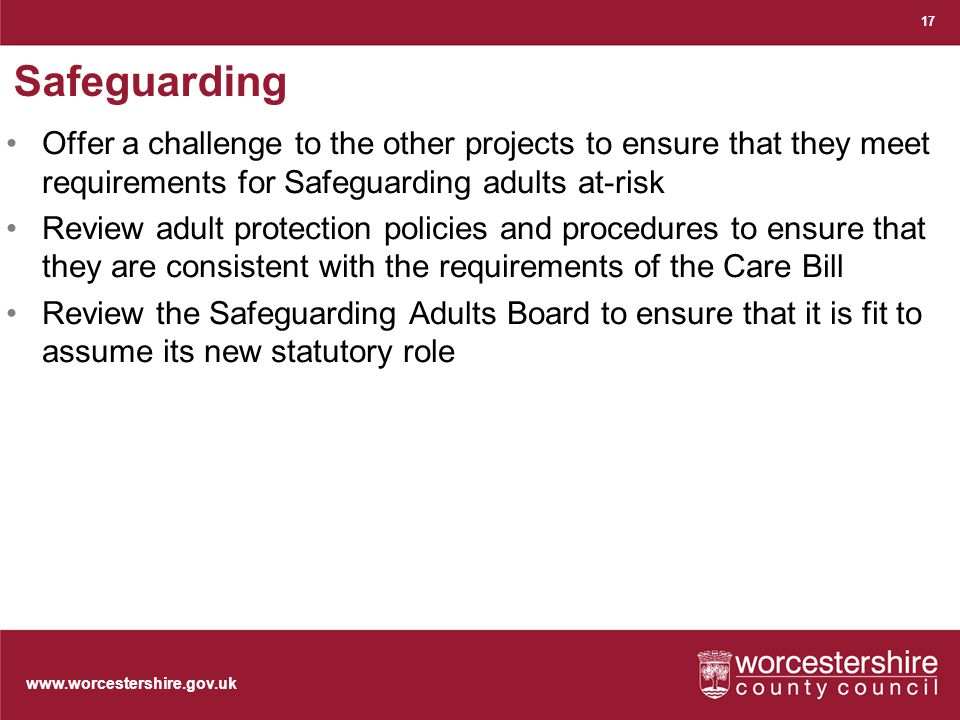Safeguarding Offer a challenge to the other projects to ensure that they meet requirements for Safeguarding adults at-risk Review adult protection policies and procedures to ensure that they are consistent with the requirements of the Care Bill Review the Safeguarding Adults Board to ensure that it is fit to assume its new statutory role 17