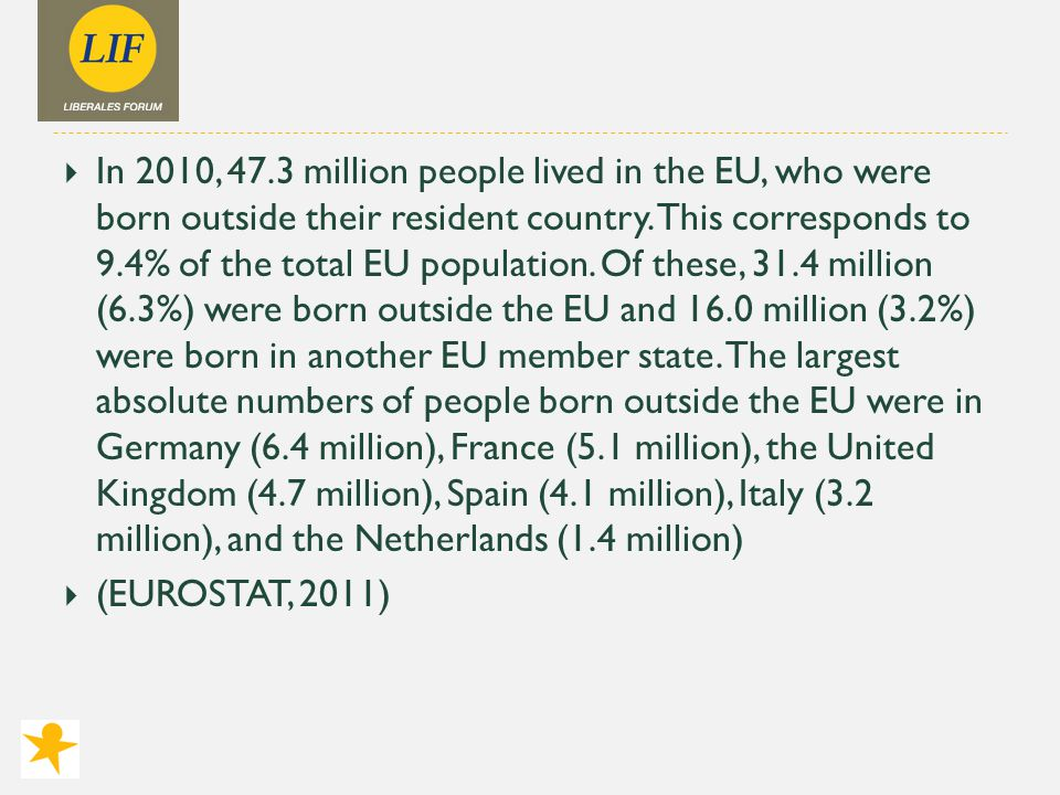  In 2010, 47.3 million people lived in the EU, who were born outside their resident country.