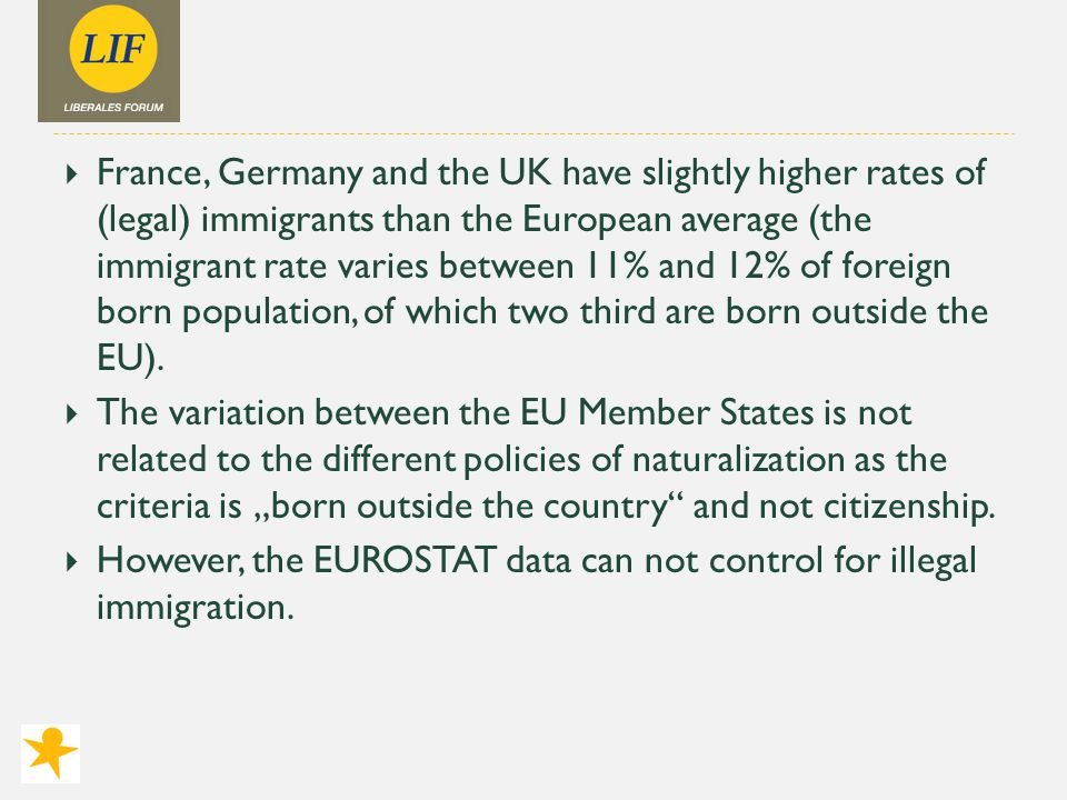  France, Germany and the UK have slightly higher rates of (legal) immigrants than the European average (the immigrant rate varies between 11% and 12% of foreign born population, of which two third are born outside the EU).