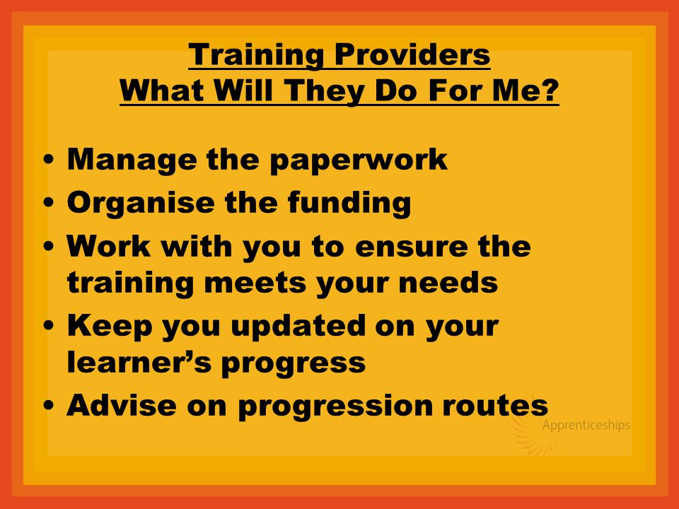 Training Providers What Will They Do For Me.