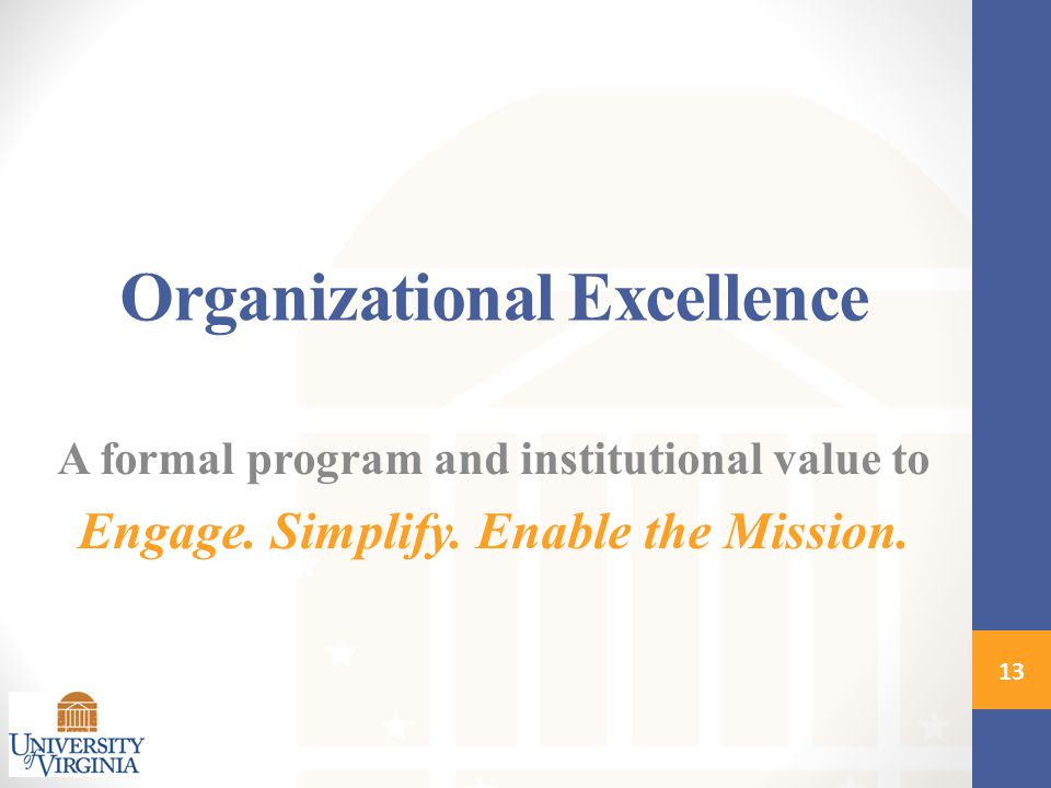 Organizational Excellence A formal program and institutional value to Engage.