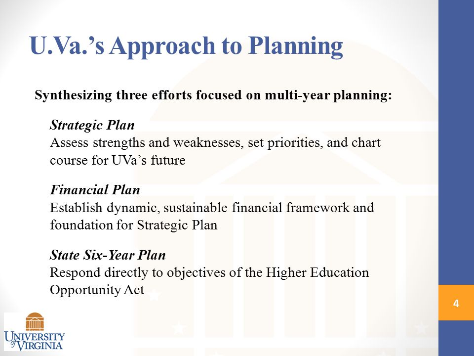 Synthesizing three efforts focused on multi-year planning: Strategic Plan Assess strengths and weaknesses, set priorities, and chart course for UVa's future Financial Plan Establish dynamic, sustainable financial framework and foundation for Strategic Plan State Six-Year Plan Respond directly to objectives of the Higher Education Opportunity Act 4 U.Va.'s Approach to Planning