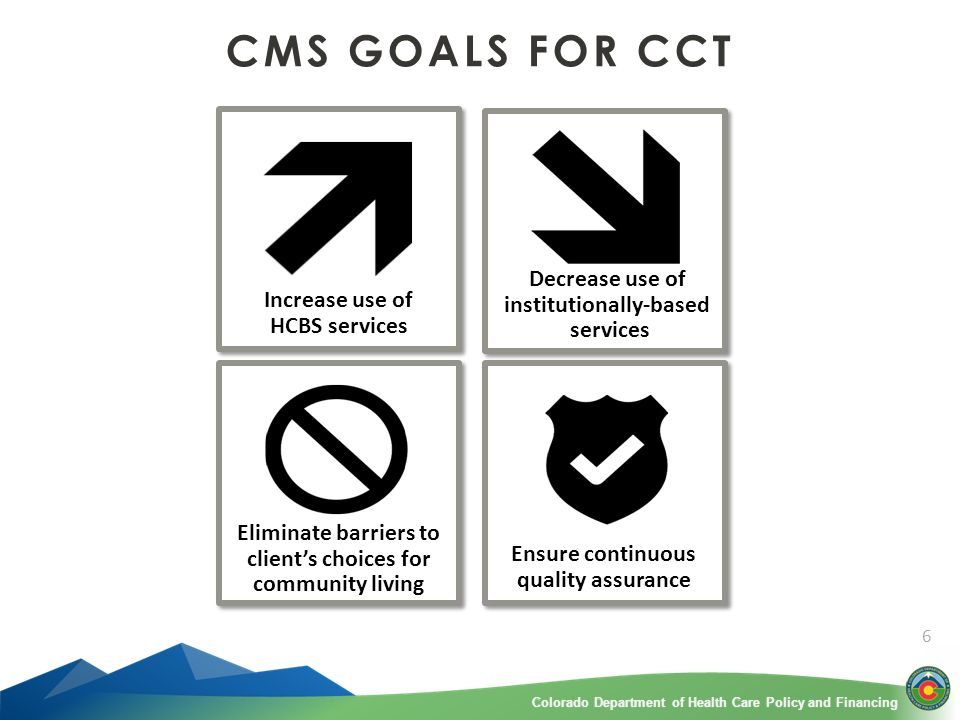 Colorado Department of Health Care Policy and FinancingColorado Department of Health Care Policy and Financing 6 CMS GOALS FOR CCT Increase use of HCBS services Decrease use of institutionally-based services Eliminate barriers to client's choices for community living Ensure continuous quality assurance
