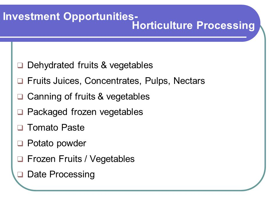 Investment Opportunities- Horticulture Processing  Dehydrated fruits & vegetables  Fruits Juices, Concentrates, Pulps, Nectars  Canning of fruits & vegetables  Packaged frozen vegetables  Tomato Paste  Potato powder  Frozen Fruits / Vegetables  Date Processing