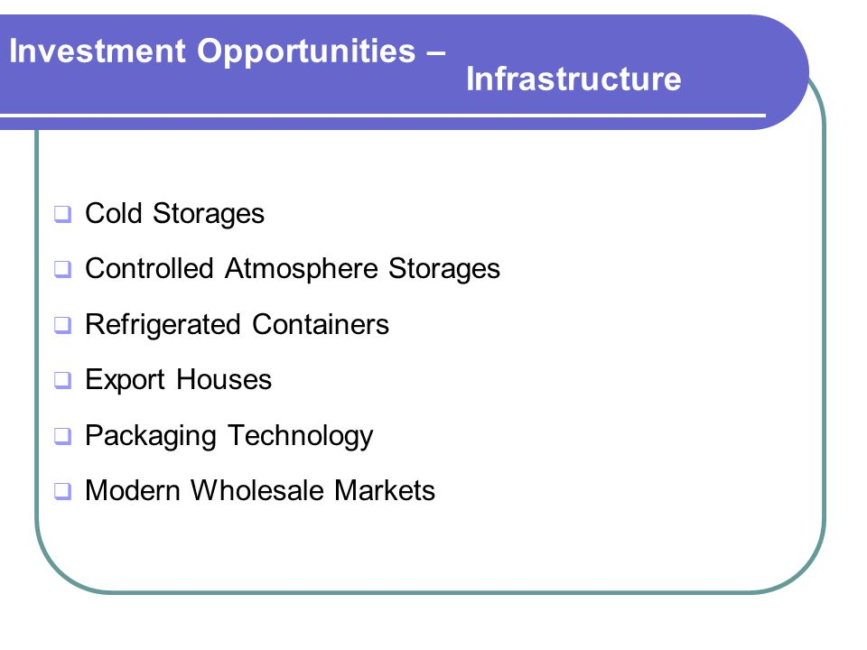 Investment Opportunities – Infrastructure  Cold Storages  Controlled Atmosphere Storages  Refrigerated Containers  Export Houses  Packaging Technology  Modern Wholesale Markets