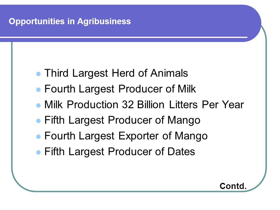 Opportunities in Agribusiness Third Largest Herd of Animals Fourth Largest Producer of Milk Milk Production 32 Billion Litters Per Year Fifth Largest Producer of Mango Fourth Largest Exporter of Mango Fifth Largest Producer of Dates Contd.