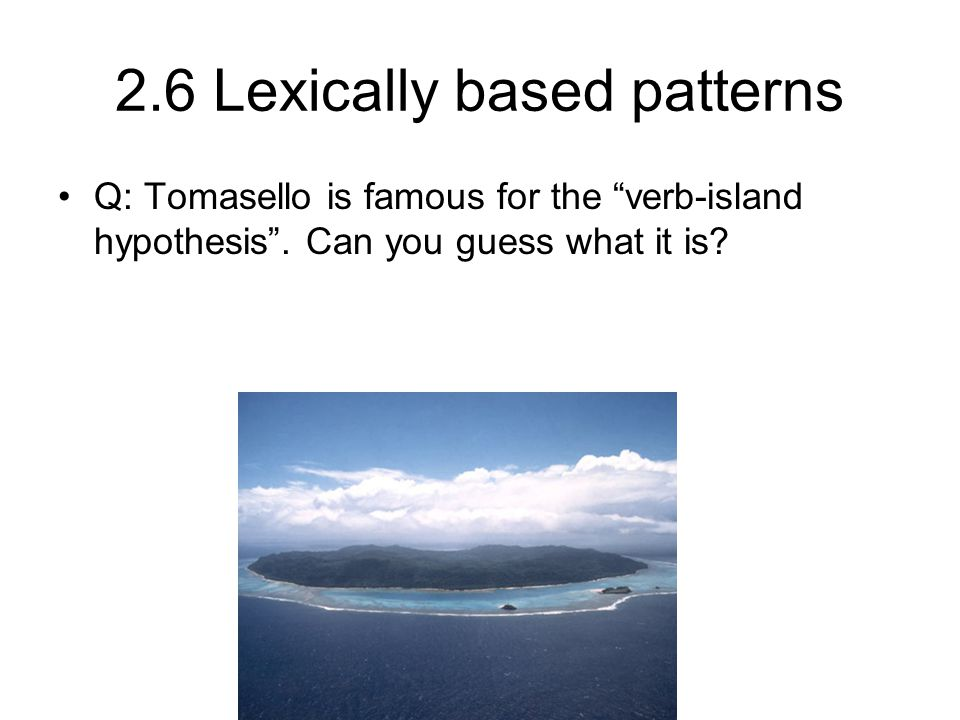 2.6 Lexically based patterns Q: Tomasello is famous for the verb-island hypothesis .
