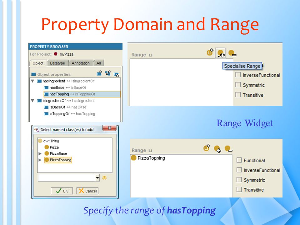 Property Domain and Range Specify the range of hasTopping Range Widget
