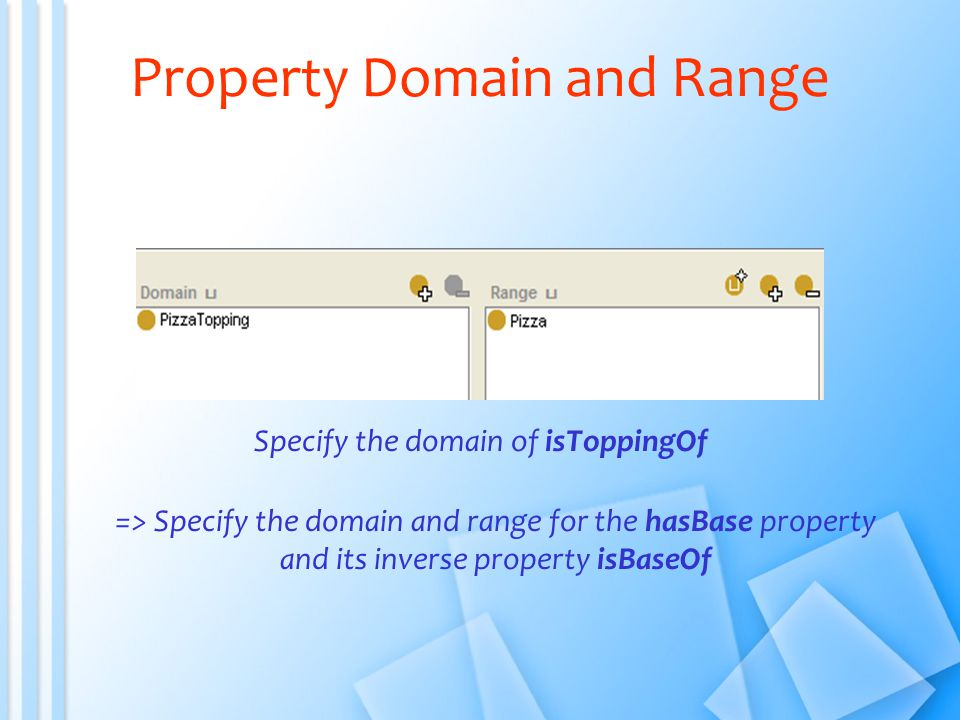 Property Domain and Range Specify the domain of isToppingOf => Specify the domain and range for the hasBase property and its inverse property isBaseOf
