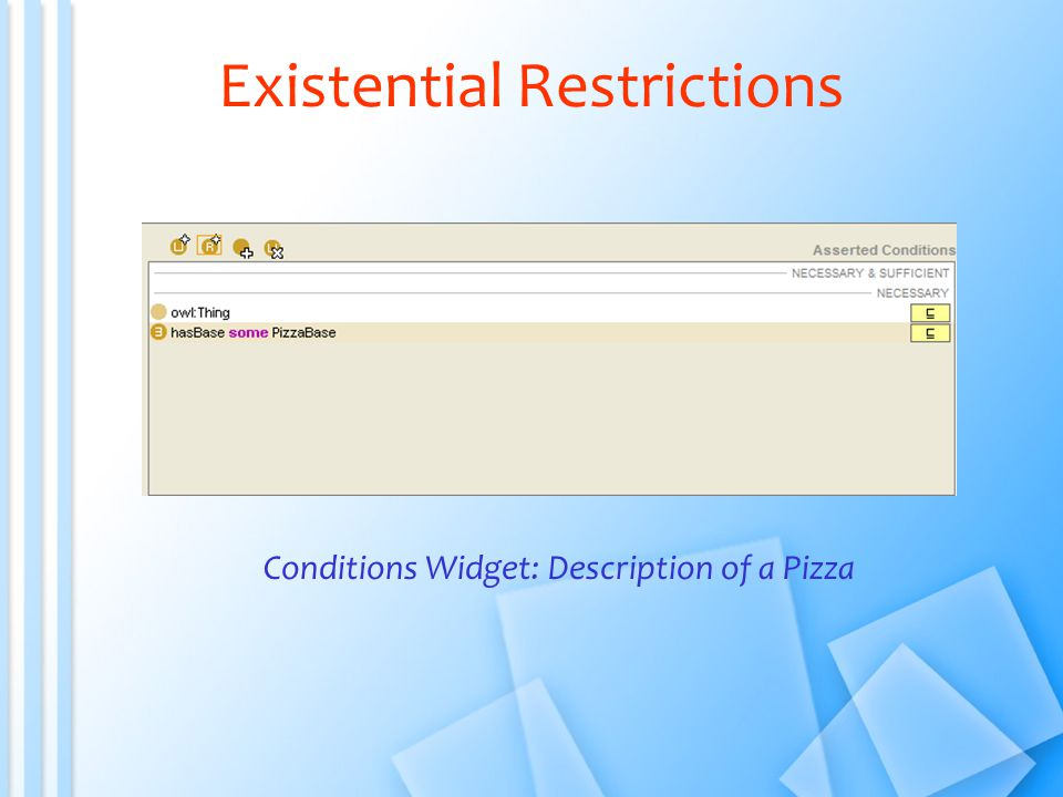 Existential Restrictions Conditions Widget: Description of a Pizza