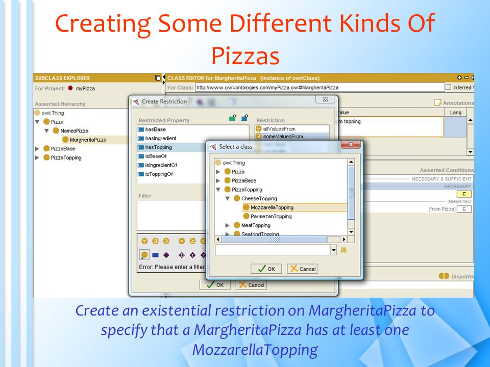 Creating Some Different Kinds Of Pizzas Create an existential restriction on MargheritaPizza to specify that a MargheritaPizza has at least one MozzarellaTopping