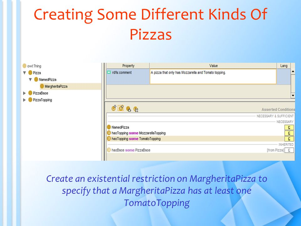 Creating Some Different Kinds Of Pizzas Create an existential restriction on MargheritaPizza to specify that a MargheritaPizza has at least one TomatoTopping