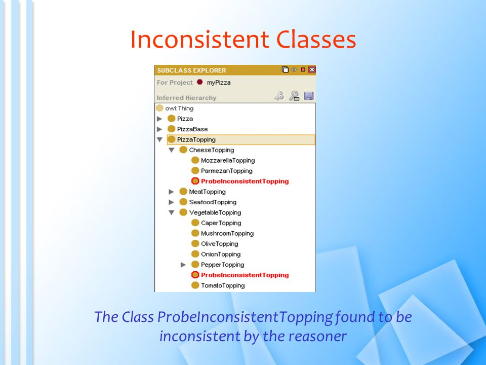 Inconsistent Classes The Class ProbeInconsistentTopping found to be inconsistent by the reasoner