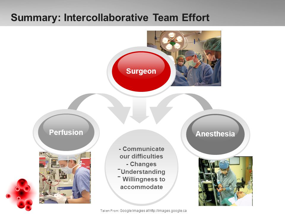 - Communicate our difficulties - Changes - Understanding - Willingness to accommodate Anesthesia Perfusion Surgeon Summary: Intercollaborative Team Effort Taken From: Google Imagies at