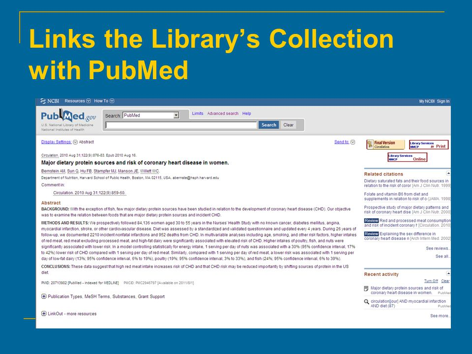 Links the Library's Collection with PubMed