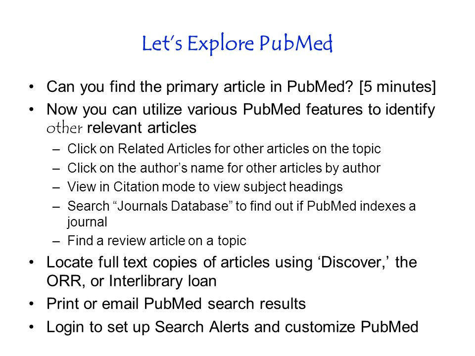 Let's Explore PubMed Can you find the primary article in PubMed.