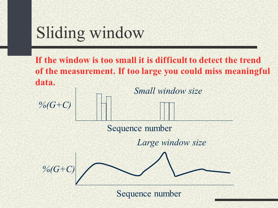 Sliding window If the window is too small it is difficult to detect the trend of the measurement.