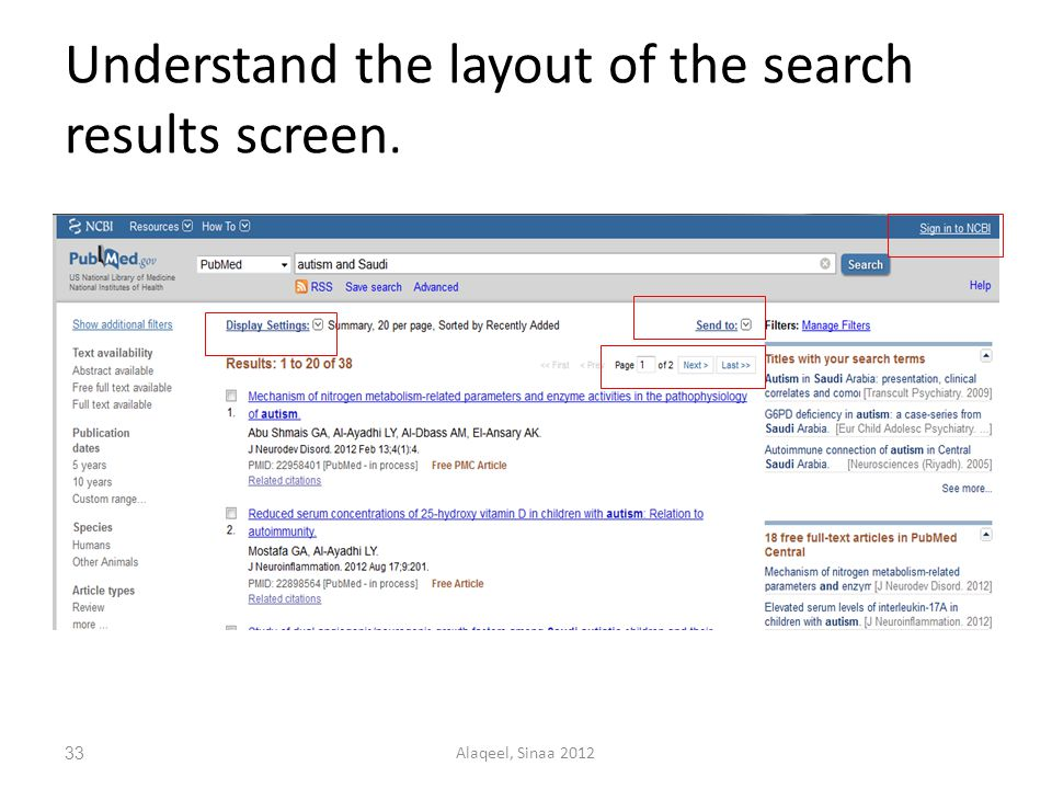 Understand the layout of the search results screen. 33Alaqeel, Sinaa 2012